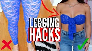 HOW To Transform your LEGGINGS | 4 LEGGING HACKS EVERY Girl MUST Know !! ( NO SEW )
