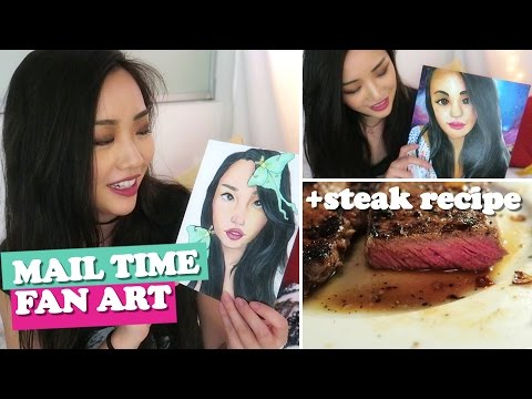 FAN ART mail time + steak recipe // ARTIST VLOG 25