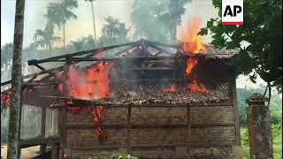 New fires burning in abandoned Rohingya village