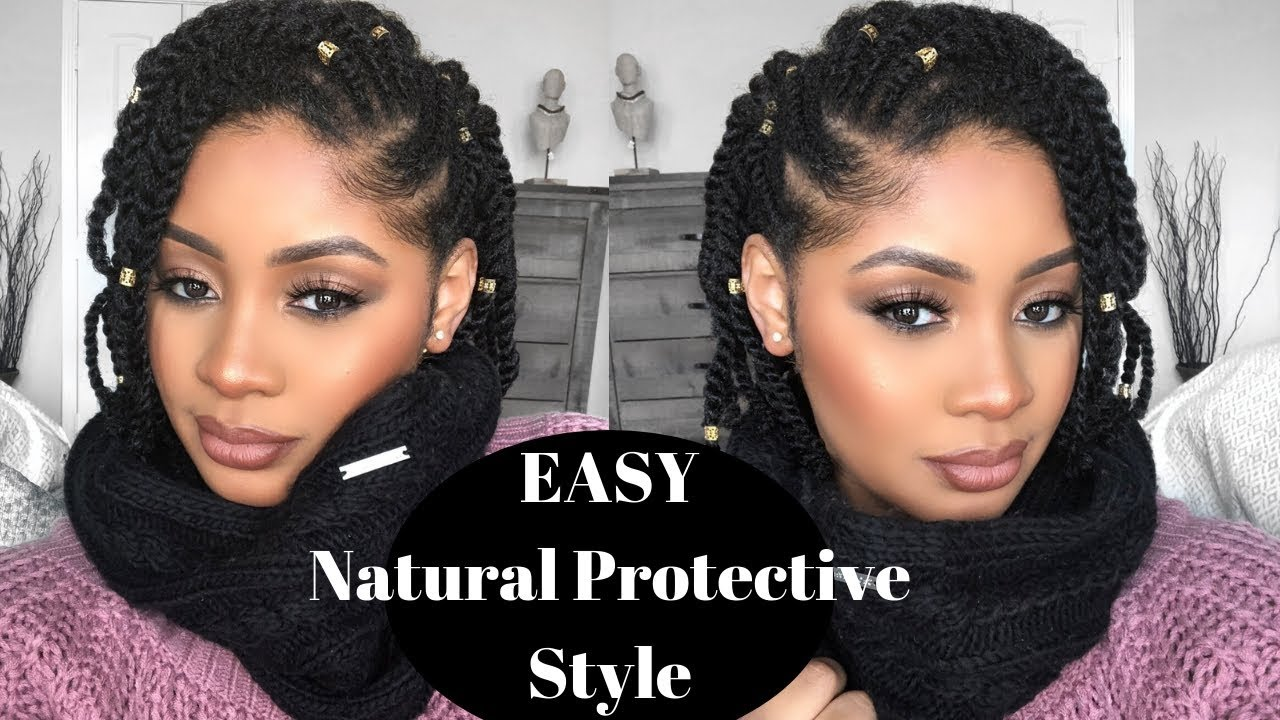 Easy Natural Hair Protective Style Side Flat Twist Two Strand