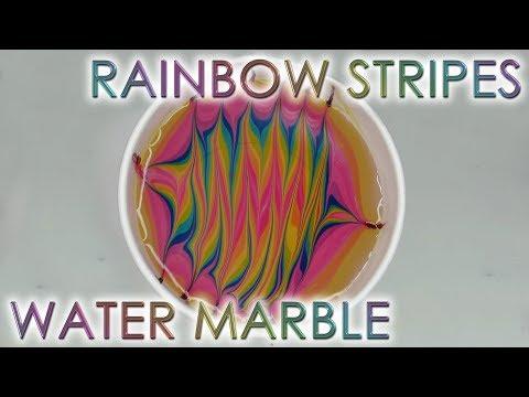 Rainbow Stripes Water Marble | DIY Nail Art Tutorial