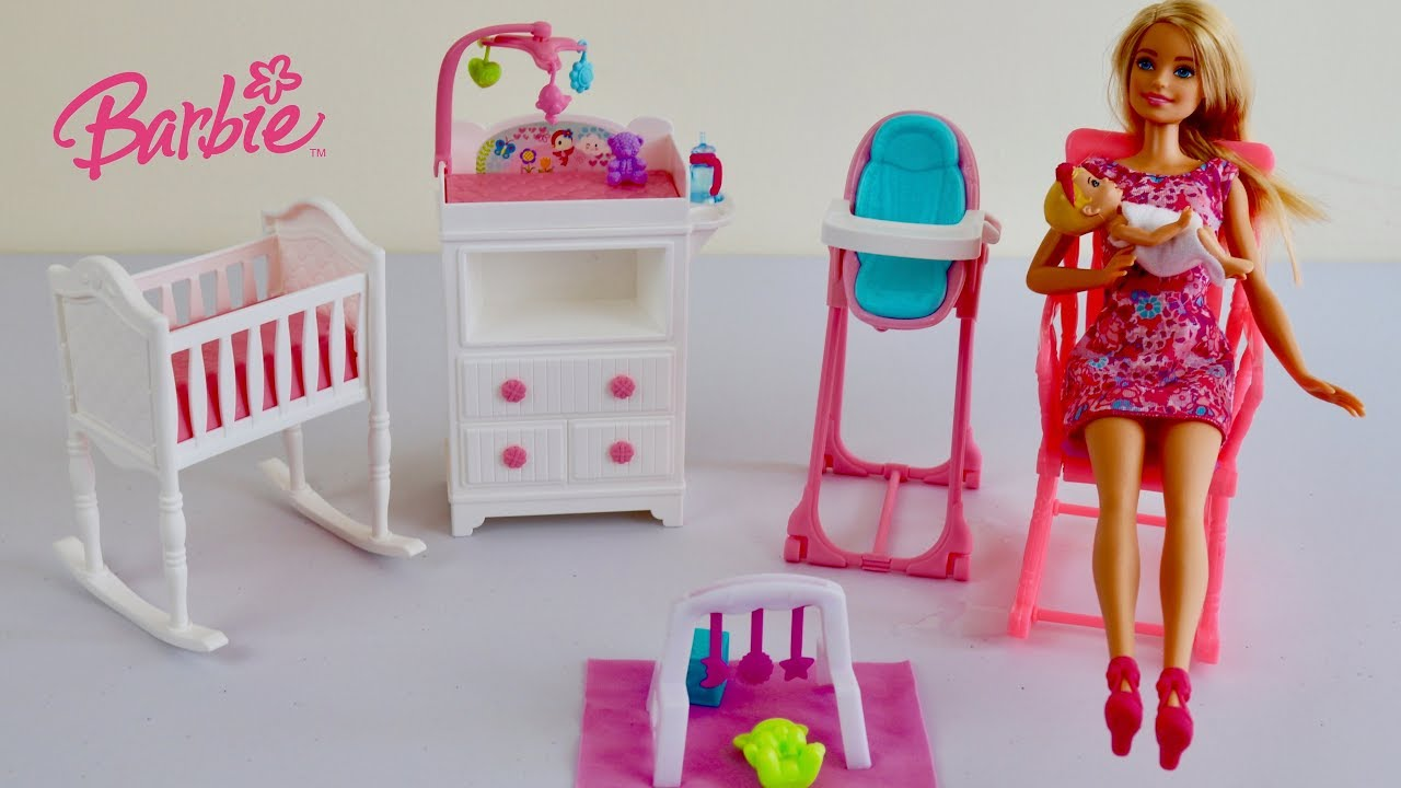 Barbie Nursery Toys Unboxing Set Up Baby Sitter Pretend Play