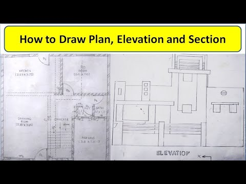 Building Drawing Plan Elevation And Section Ghar Ka Naksha Plan Elevation Section Drawing Youtube