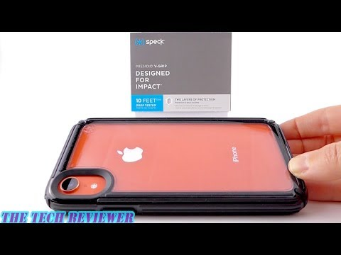 Show off & Protect your iPhone XR with Speck Presidio V-Grip--Crystal Clear Back, Mega Grippy Sides!