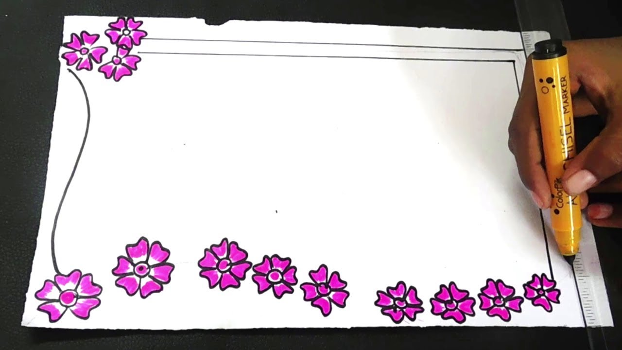 Easy Flowers Border Designs For Kids How To Draw Simple Border Designs Kids Project Designs Youtube