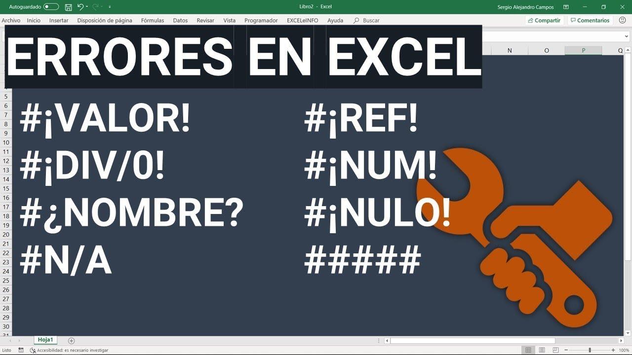 Errores de fórmulas en Excel y cómo solucionarlos @EXCELeINFO - YouTube
