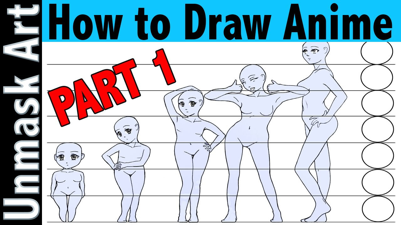 How to draw anime part 1 proportions creating a character base hands feet