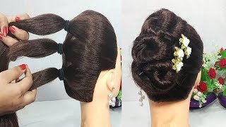 5 Mins Hairstyle for wedding   Easy Hairstyles for long hair   updo hairstyle   simple hairstyle