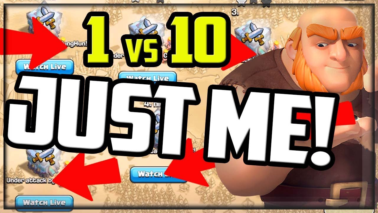 Download JUST ME! 1 vs 10 Clan War in Clash of Clans!