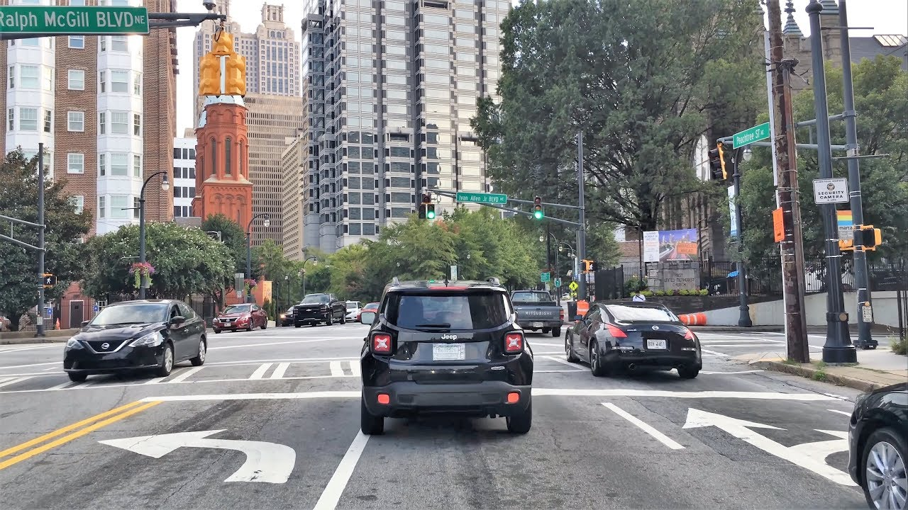Driving Downtown 4K - Atlanta's Main Street - USA