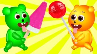 Mega Gummy Bear Babies Getting Magic Spiral Ice Cream Finger Family Cartoon Videos For Children
