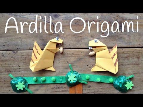 Ardilla de papel, origami fácil para niños