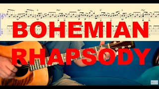 #BohemianRhapsody #Queen #FreddieMercury BOHEMIAN RHAPSODY - Tutorial for Guitar (TABS and Score)
