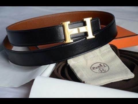 Hermès Gold H Buckle 32mm Reversible Belt Kit Brown Togo / Black leather
