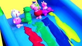 Color Changing Peppa Pig Bathtime Party with Mermaid Elsa Bath Paint Crayons Surprises LEARN COLORS