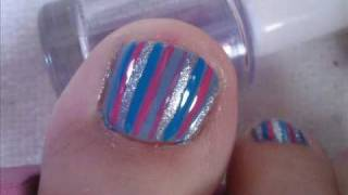 Blue pink and silver pedicure!