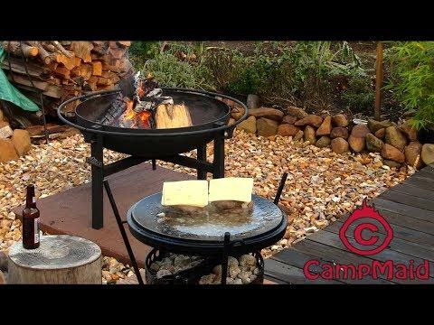 CampMaid Dutch Oven Lid Cook Hamburger Outdoor Backyard Cooking