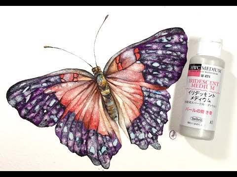 Watercolor Butterfly and Iridescent Medium Painting Demo