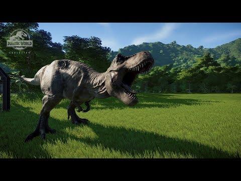Jurassic World Evolution: Tyrannosaurus Rex All Animations | Hunting And Killing