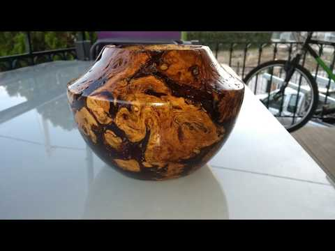 Turning a Rose Root Hollow Form Bowl (fixed with resin)