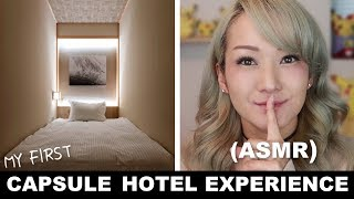 My First CAPSULE HOTEL Experience ASMR Vlog Review