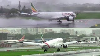 Monsoon Plane Spotting at Mumbai... Jet Spray Departures and Arrivals...