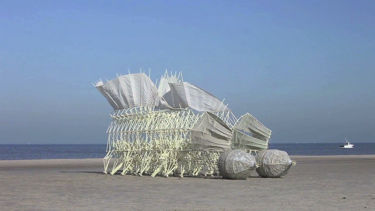 Dutch Artist Theo Jansen - Strandbeests (Wind Powered Sculptures made of stiff yellow plastic tubes)