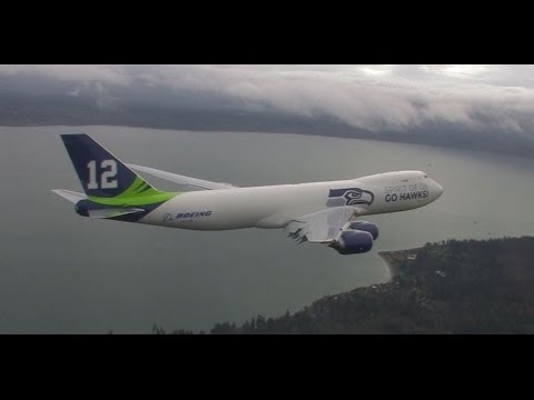 Boeing's Seahawks 747-8 Freighter takes flight