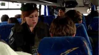 israelis checking ids in a Palestinian bus- مجنده  اسرائيليه في الباص