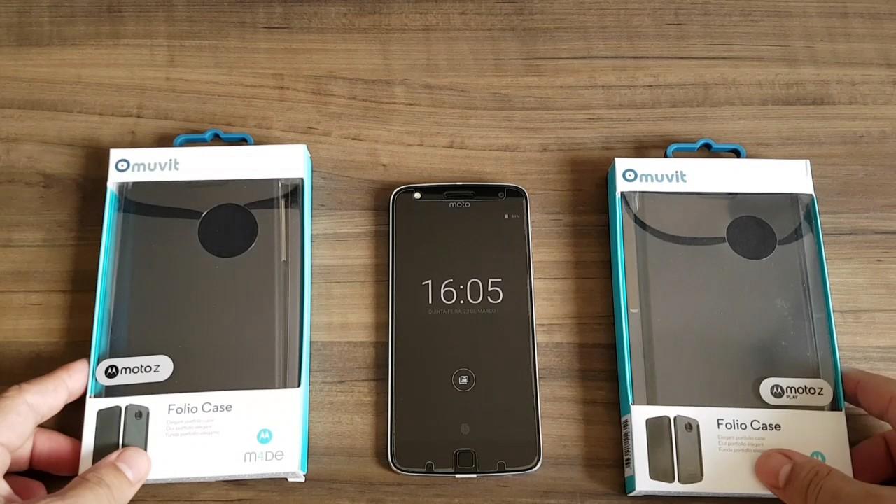 online retailer e81fb 53911 Capa Flip Folio Case Original Muvit (Motorola ) para Moto Z e Moto Z Play (  Demo Com Aparelho )