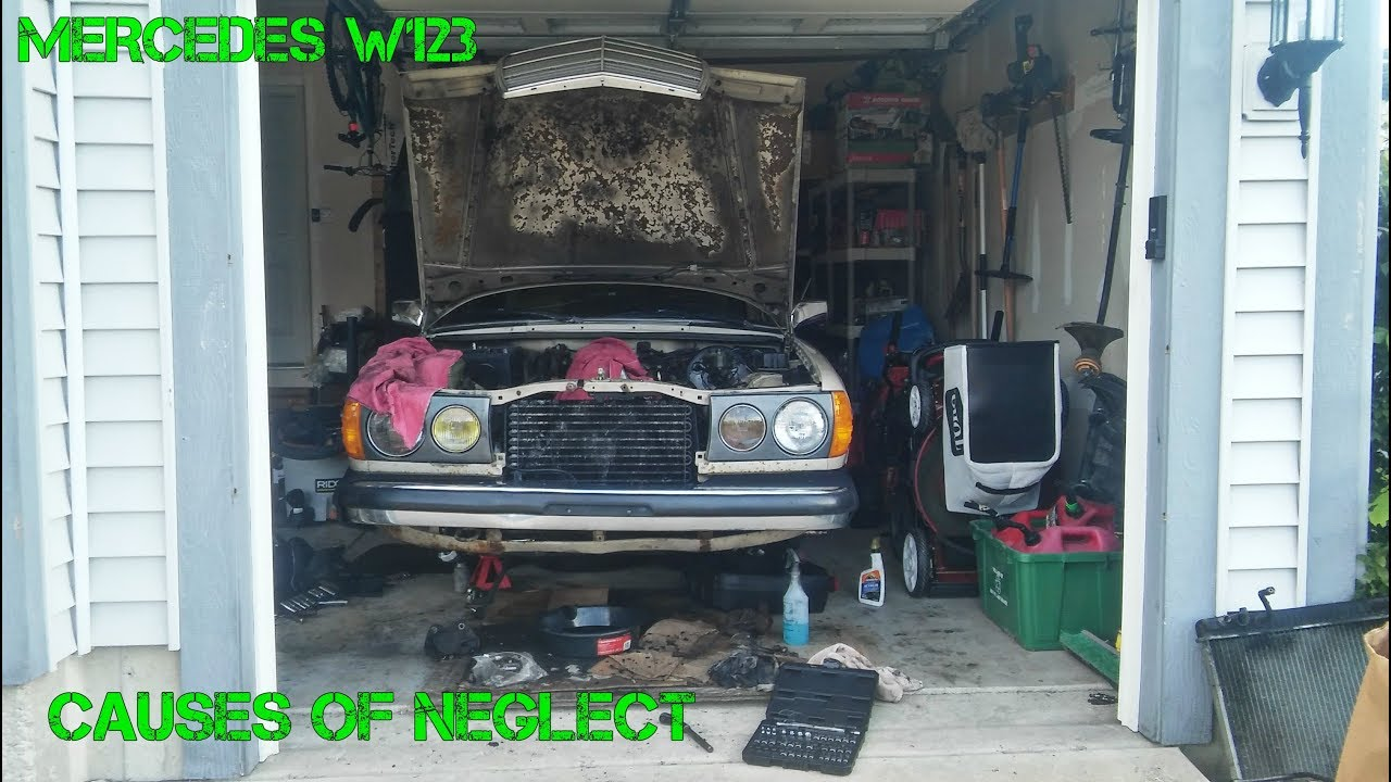 Project W123 Part 7: OM617 engine parts disassembly & clean up  So much oil  sludge,so much neglect:(