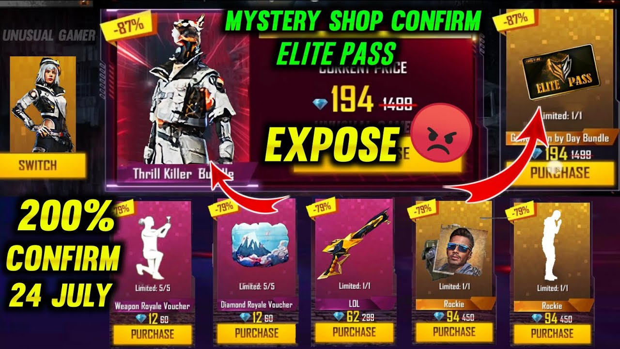 MYSTERY SHOP 13.0 FREE FIRE | MYSTERY SHOP FREE FIRE | JULY MONTH ELITE PASS DISCOUNT | FF NEW EVENT