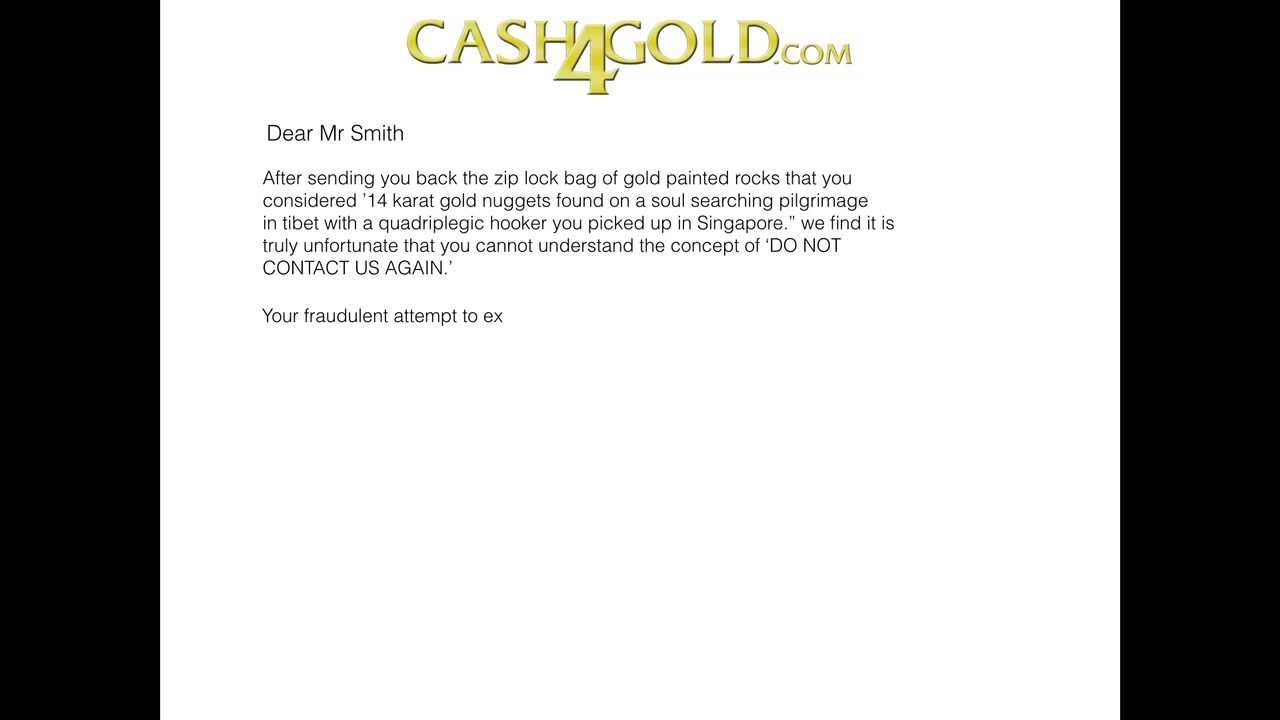 letter back from cash4gold youtube