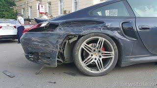 Porsche 911 Turbo попал в ДТП на ул. Пушкинской в Туле. 25.05.2015