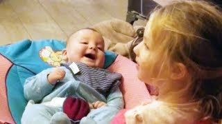 Cute Baby Is Happy While Playing With His 3 Years Old Sister