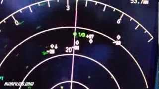 Air traffic on TCAS and real cockpit view