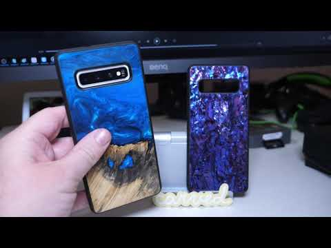 Galaxy S10+ Carved Wood Resin Case and Seashell Case