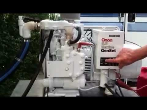 Onan 6.5 MCCK Marine Gasoline Generator running with load bank (for sale)