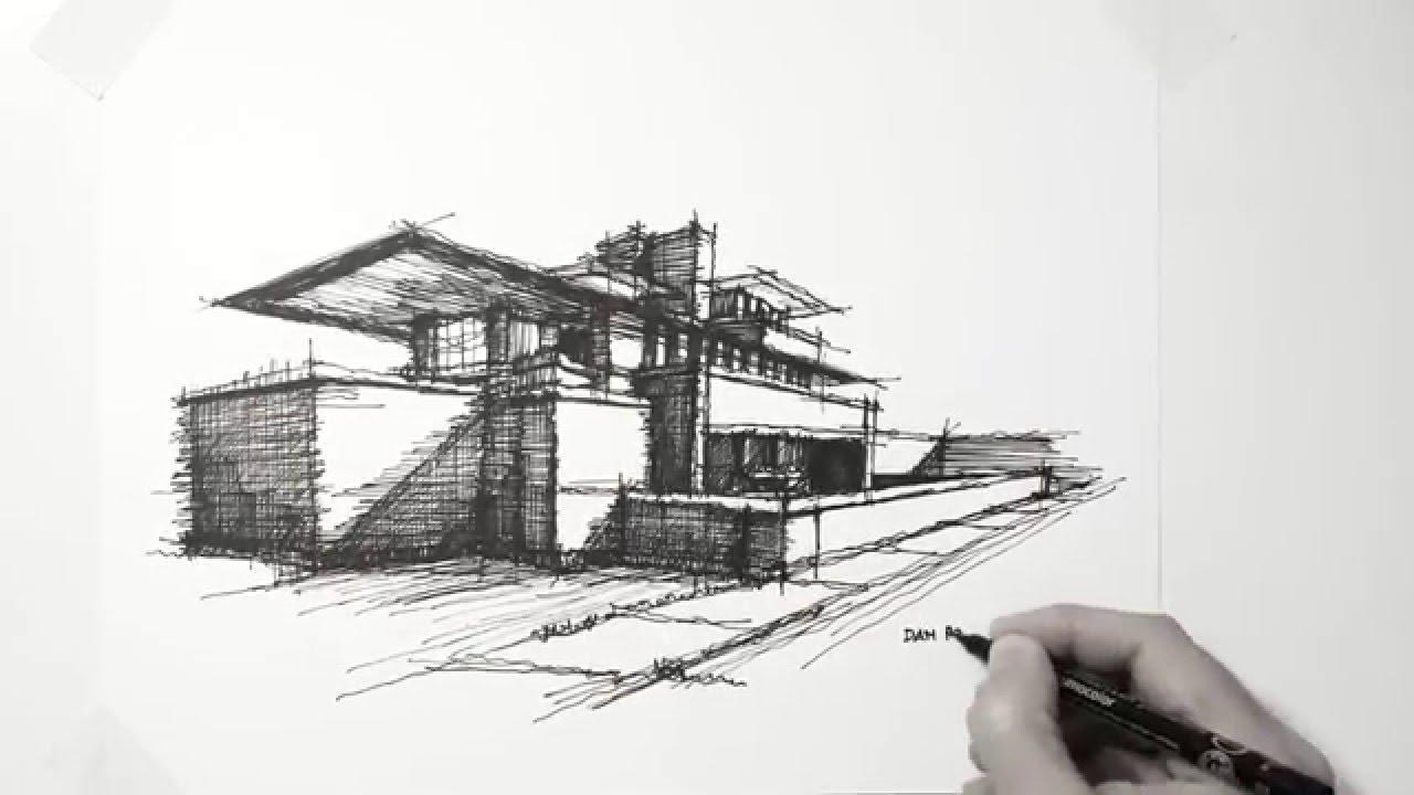 My lazy Sunday architectural sketch  Frank Lloyd Wright