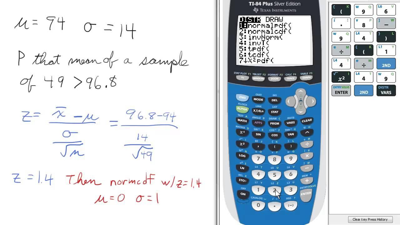 Percent Sample Set Less Than A Value (midterm #39) Ti 84 Calculator
