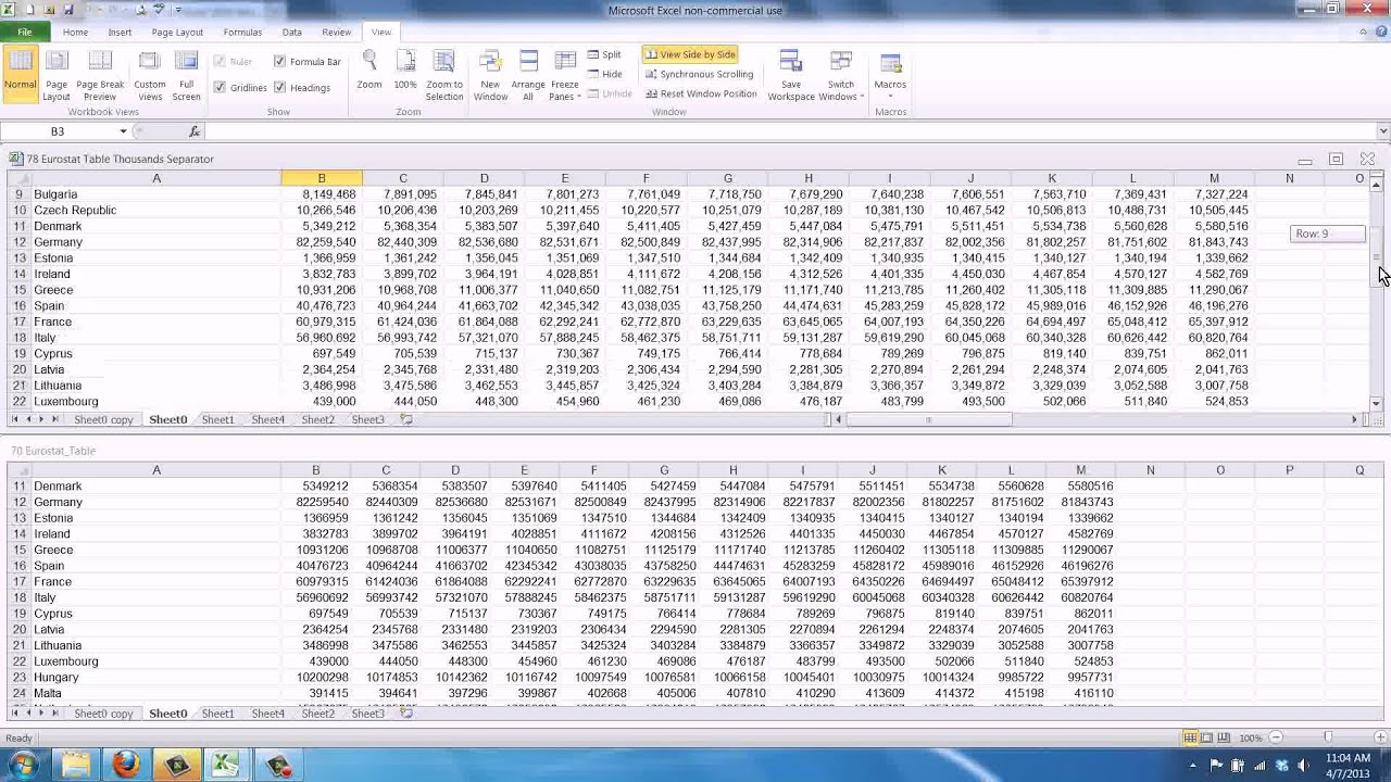 How to Compare Two Excel Sheets Side by Side - YouTube