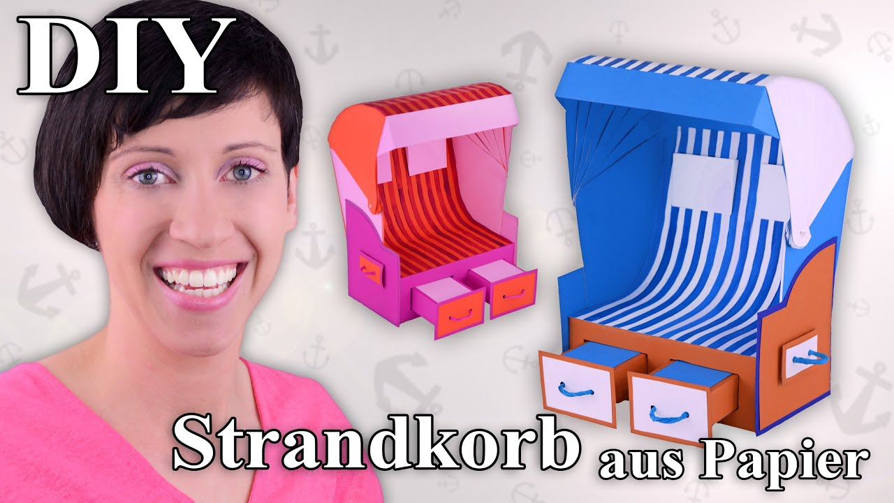 strandkorb aus papier beach chair bastelanleitung youtube. Black Bedroom Furniture Sets. Home Design Ideas