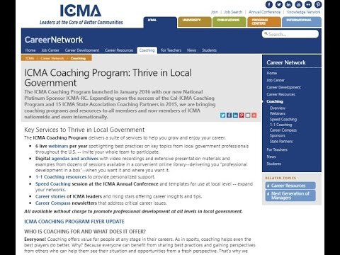 ICMA Coaching Resources for Managers in Transition