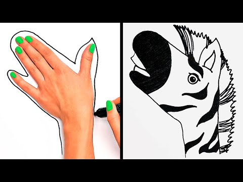 HOW TO DRAW ANY ANIMAL WITH YOUR HAND || Simple Drawing Tricks for Beginners