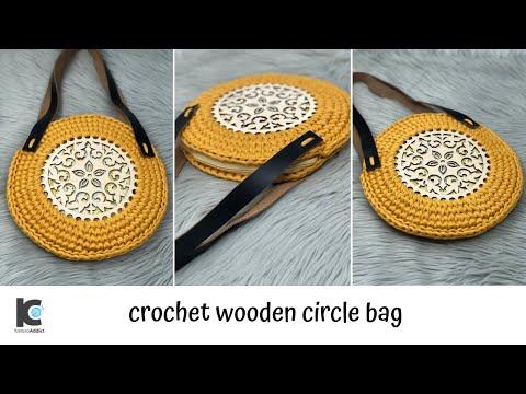 Crochet wooden circle bag