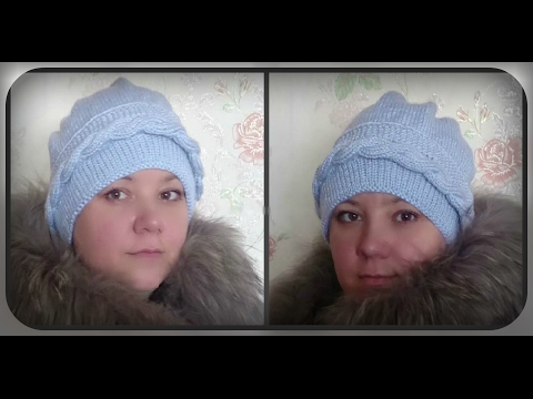 Шапка-шлем, шапка с ушками для девочки. Вяжем спицами по