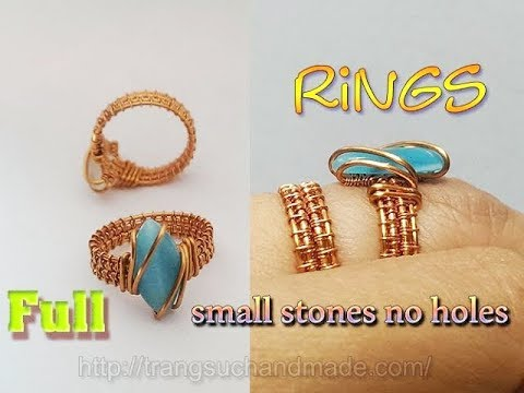 Wire wrapped ring with small cat eye stones without holes - full version ( slow ) 338