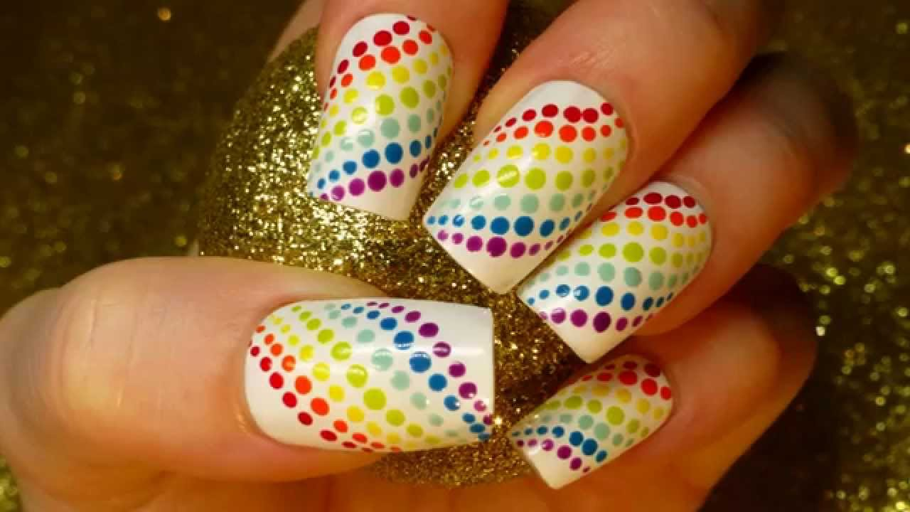 rainbow wave polka dot nail art