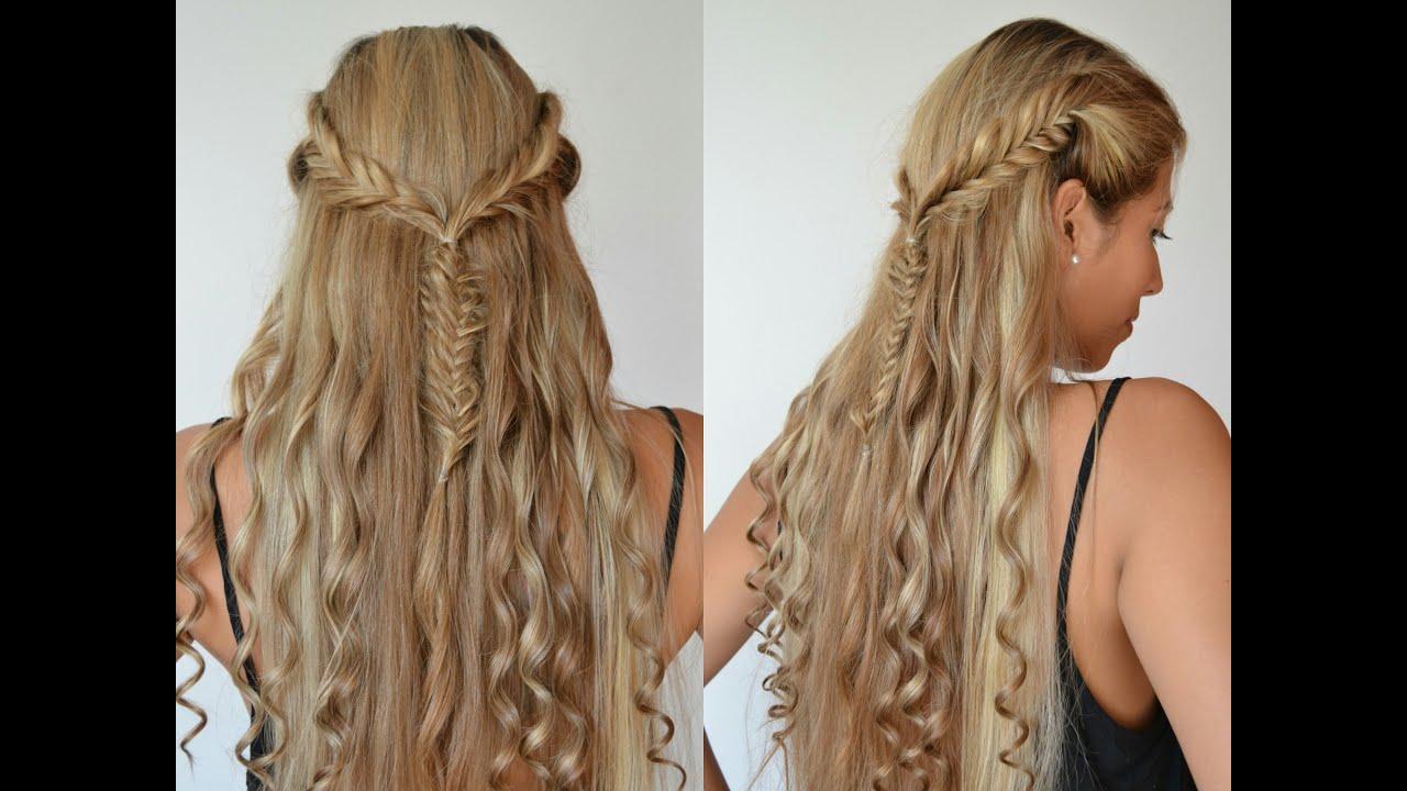 Peinado con trenzas de espiga laterales y rizos belleza - Peinados y trenzas ...