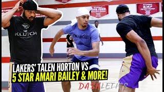 Lakers' Talen Horton Tucker vs 5 Star Amari Bailey Battle It Out In Pro Open Runs!!